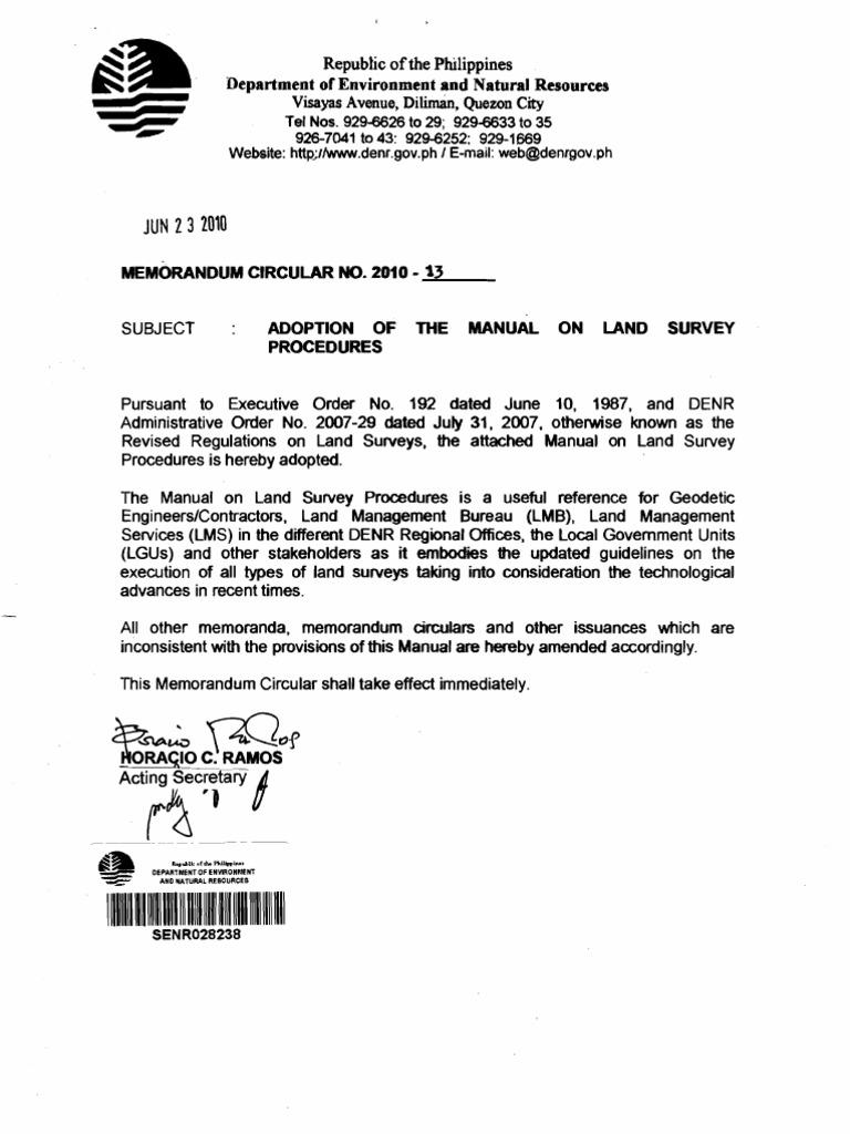 Denr memo circ 2010 13 manual of land survey procedures for Environmental management bureau region 13
