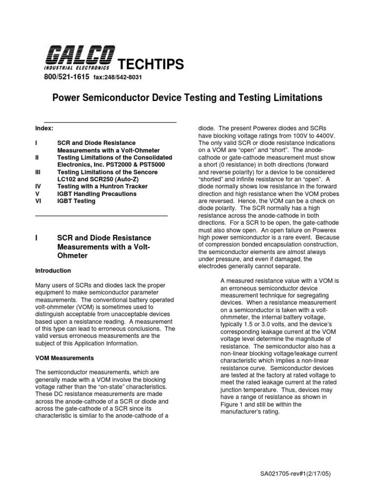 Device Test Limitspdf Diode Field Effect Transistor Thyristor Tester