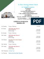 9. Schedule of Divine Services - September, 2017