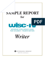 WISC-IV Writer Sample Report