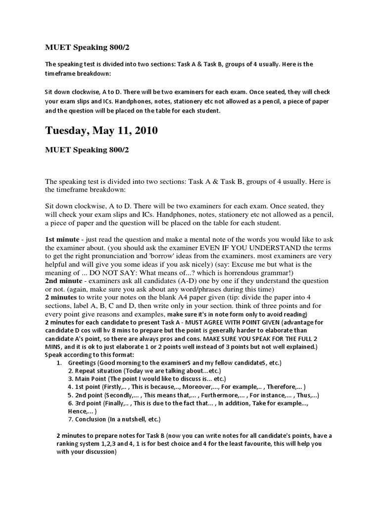 Muet Speaking 800 Test Assessment Cognition