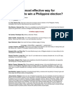 What is the Most Effective Way for Candidates to Win a Philippine Election
