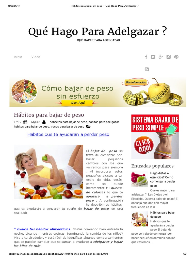 Hábitos Para Bajar de Peso _ Qué Hago Para Adelgazar..