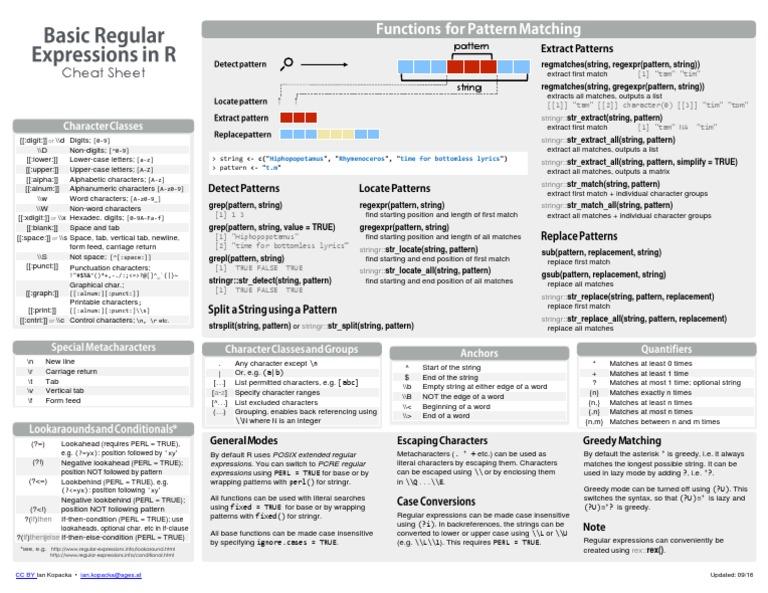 Reg Ex Cheat Sheet | Cadena (Ciencias de la Computación
