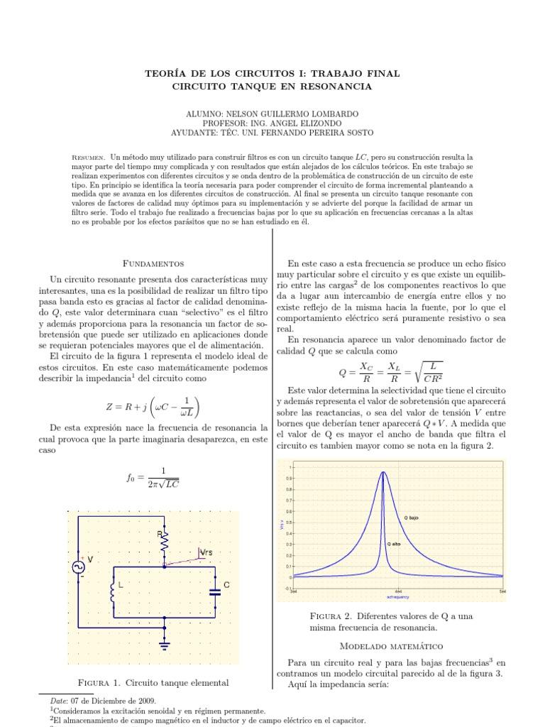 Circuito Tanque : Teoría de los circuitos i circuito tanque en resonancia