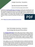 Solar Technologies Upcoming - Innovations
