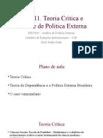 Aula 11 Teoria Crítica e Análise de Política Externa