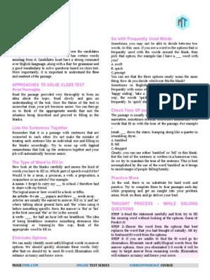 1100 English Cloze Test Www bankbooks in | Adjective