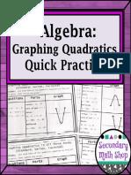 AlgebraGraphingQuadraticsUsingAllThreeFormsQuickPracticeFreebie