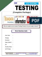 ETL Testing Course Content