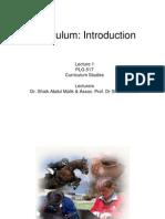 Curriculum Lecture 1
