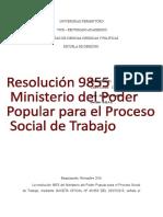 Trabajo de La Resolucion 9855 Del Ministerio Del Poder Popular Para El Proceso Social de Trabajo