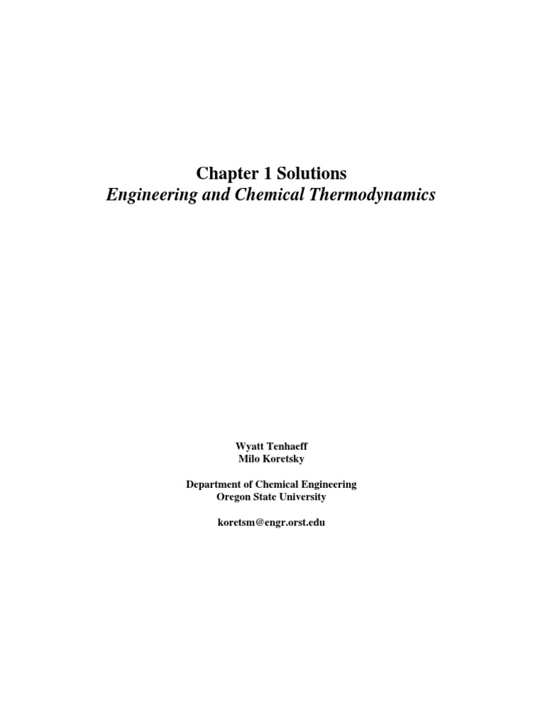 199128204-Engineering-Chemical-Thermodynamics-Koretsky-Solutions-Manual.pdf  | Gases | Heat