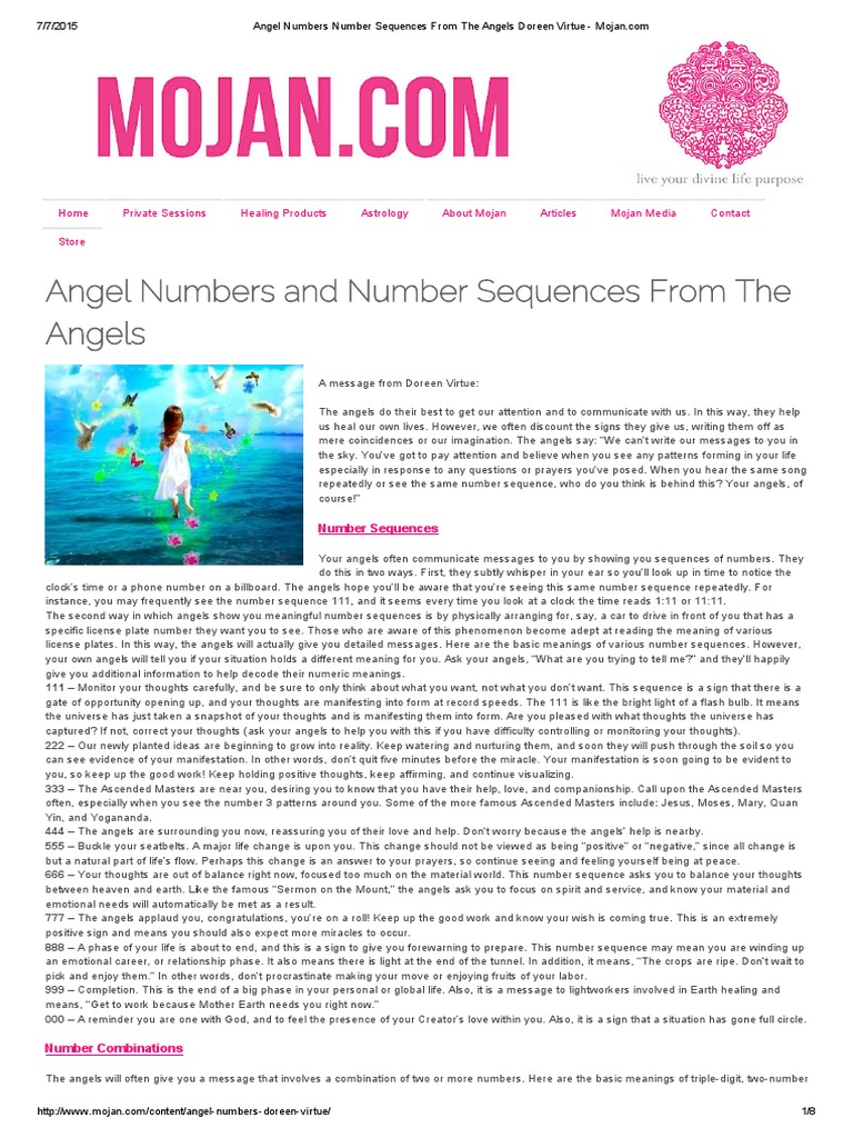 Angel Numbers Number Sequences From The Angels Doreen Virtue