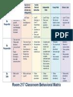 classroom behavioral matrix