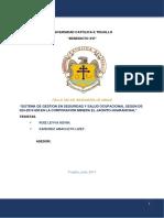 Tesis Sistema de Gestion en Seguridad y Salud Ocupacional Según Ds 024 2016 Em en La Corporacion Minera El Jacinto Huaranchal