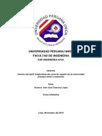 Informe Del Perfil Longitudinal Del Canal de Regadío de La Universidad Peruana Unión a Mejorarse