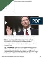 Testimony Transcript on Trump and Russia - POLITICO