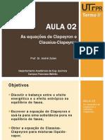 Aula_02 - As Equações de Clapeyron e Clausius-Clapeyron