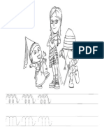 13 - LETRA M - Atividades de Alfabetização Em Pontilhado Cursiva Com Desenho Para Colorir