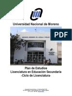 Plan de Estudios Licenciatura en Educación Secundaria