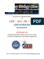 CSIR June 2017 Life Sciences Orignial Question Paper With Answer Key PDF