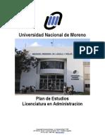 Plan de Estudios Licenciatura en Administración