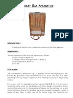 Orsat Gas Apparatus