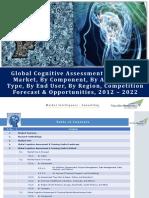 Global Cognitive Assessment & Training Market Forecast & Opportunities, 2022_Brochure