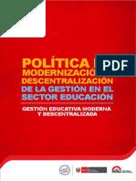 Politica Modernizacion Descentralizacion MINEDU