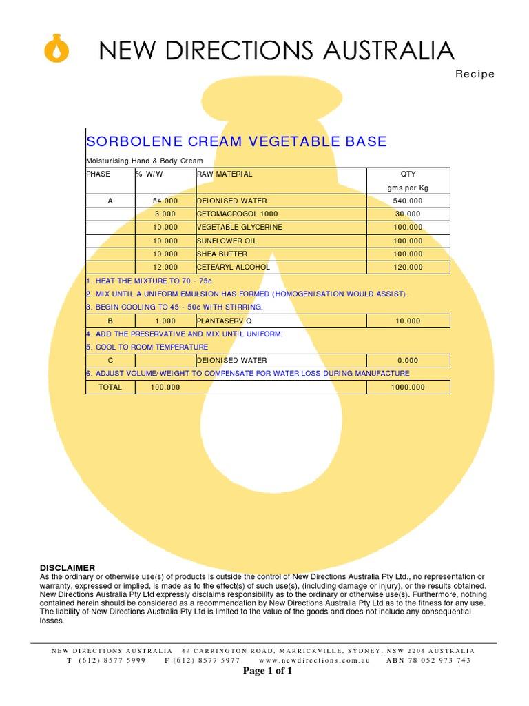 Sorbolene Cream Veg | Chemistry | Foods