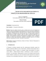 CURRÍCULO BASEADO NO PLANEJAMENTO DO ENSINO NA FORMAÇÃO DE PROFESSORES DE CIÊNCIAS. 2015 Guimarães&Giordan WebCurric
