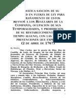 Pragmática Sanción de 1767 Expulsión de Los Jesuitas
