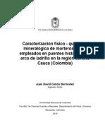 Caracterizacion Fisico-quimico y Mineralogia de Morteros de Cal