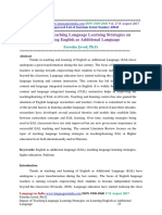 Impact of Teaching Language Learning Strategies on Learning English as Additional Language