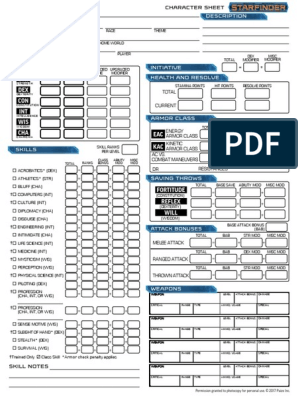 graphic about Starfinder Character Sheet Printable titled Starfinder RPG - Individuality Sheet