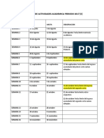 Calendario de Actividades Academica Periodo 2017