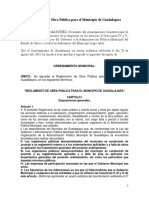 Reglamento de Obra Publica Para El Municipio de Guadalajara