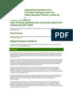 Estructura y Composición Florística de La Vegetación Del Corredor Biológico Entre Los Parques Nacionales Naturales Puracé y Cueva de Los Guácharos