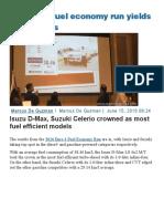 2016 DOE Fuel Economy Run Yields High Results