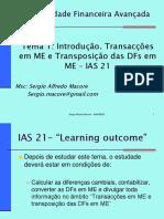 Transacções Em ME e Transposição Das DFs Em ME – IAS 21