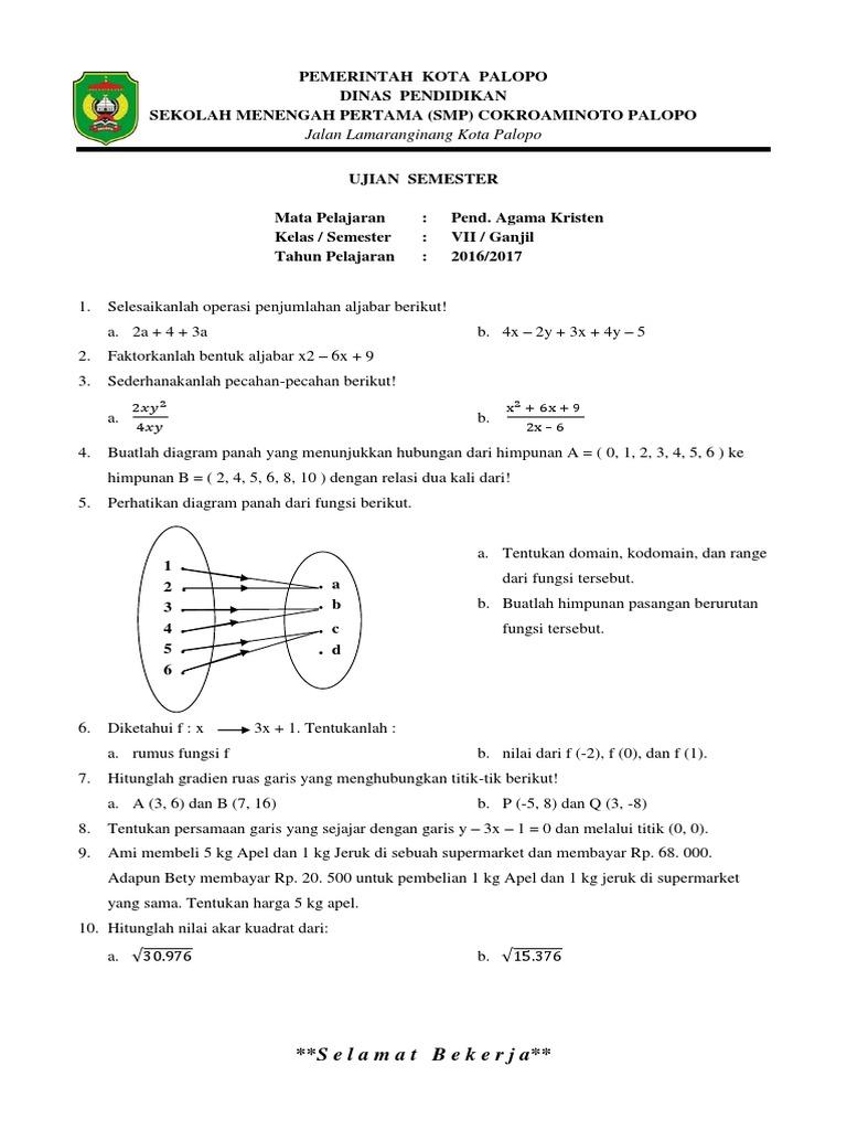 Soal semester ganjil matematika 2 ccuart Gallery