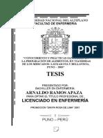 Tesis Conocimiento y Prácticas Sanitarias en La Preparación de Alimentos, En Vianderas de Los Mercados Laykakota y Bellavista Puno – 2003