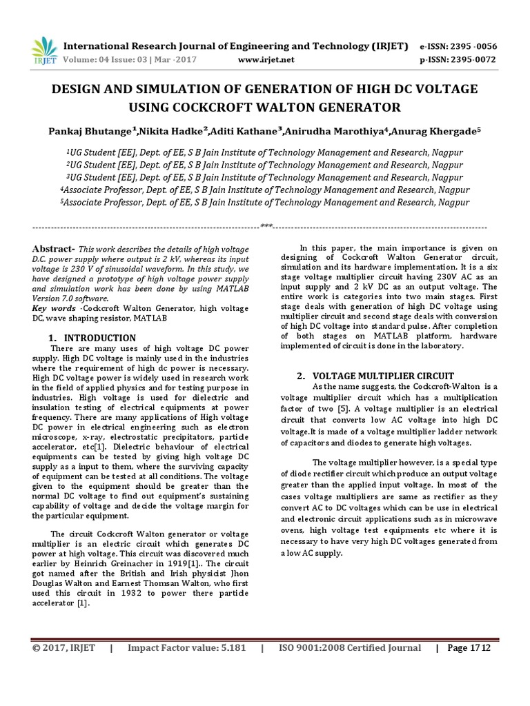 Design And Simulation Of Generation High Dc Voltage Using Multiplier With Diodes Capacitors Cockcroft Walton Generator Capacitor Rectifier