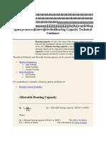 Bearing Capacity Technical Guidance