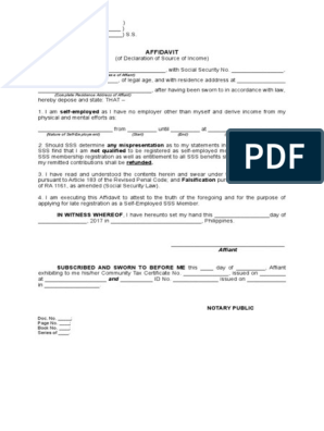 Affidavit of Declaration of Source of Income (self employed) doc
