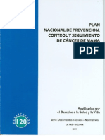 Plan nacional de prevención, control y seguimiento de cáncer de mama 2009 - 2015