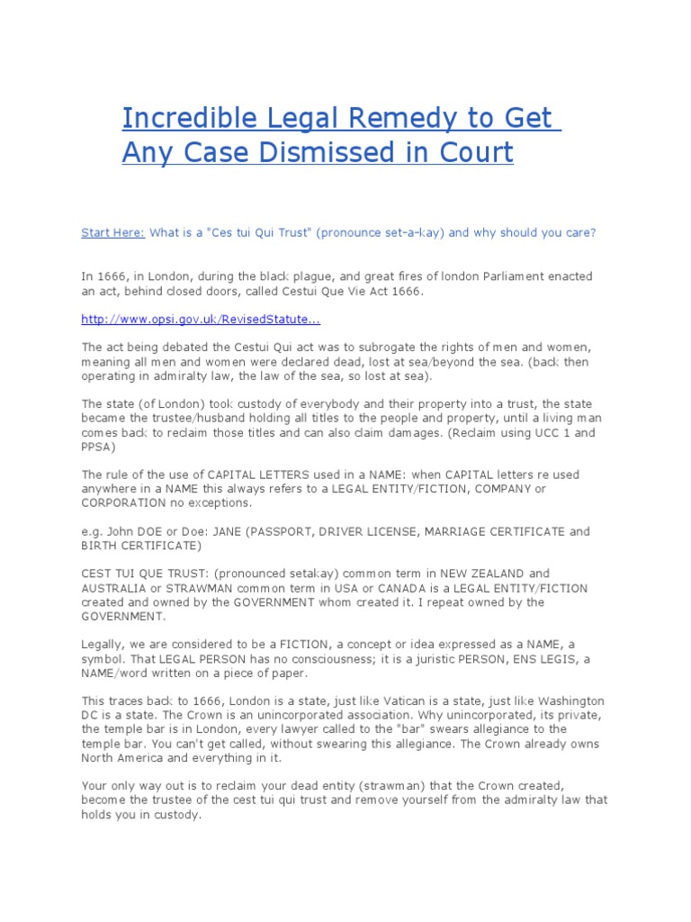 Incredible legal remedy to get any case dismissed in court trust incredible legal remedy to get any case dismissed in court trust law trustee biocorpaavc Gallery