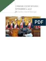 Kenya Supreme Court Elections Ruling 2017