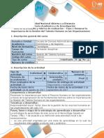 Guía de Actividades y Rúbrica de Evaluacion- Fase 1 Destacar La Importancia de La Gestión Del Talento Humano en Las Organizaciones